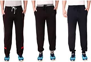 Cynak Men's Cotton Trackpants | Lowers with Both Side Zipper Pockets (Multicolor) (XXL Size)