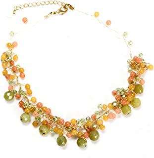 Handmade Multi-Colored Gemstones Beads Silk Thread Cluster Women Necklace 17-19 Inches
