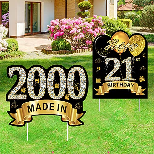 Kauayurk 2Pcs 21st Birthday Yard Sign Decorations Supplies, Happy 21 Birthday Made in 2000 Party Outdoor Lawn Sign for Him & Her, Black Gold 21 Year Old Birthday Yard Decor with Stakes