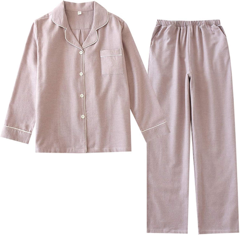 Men'S Sleeve Cotton Shirt And Pants Pajamas Pjs Sleepwear Lounge Set Pink M