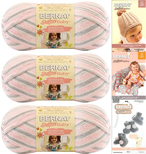Bernat Softee Baby Yarn 3-Pack Pink Flannel Bundle Includes 3