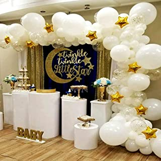 BONROPIN Balloon Garland & Arch Kit   139 pcs 16 ft Star balloons & confetti balloons & white balloons  Party Supplies Decorations for Wedding Birthday Baby Shower Graduation Anniversary Organic Party