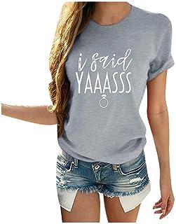 Women's T-Shirt Fashion I SUID YAAASSS Printed Short Sleeve O Neck Casual Tops Summer Comfortable Casual Blouses Tunic