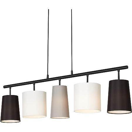 Briloner Leuchten Lampe à suspension avec abat-jours en tissu métallique – Comporte 5 douilles E14 – Idéale pour le salon ou la salle à manger – Abat-jours noirs, blancs et gris
