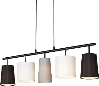 Briloner Leuchten Lampe à suspension avec abat-jours en tissu métallique – Comporte 5 douilles E14 – Idéale pour le salon ...