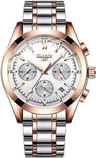 Men's Quartz Watches Business Luxury Wrist Watch Full Stainless Steel Stop Watch for Men, Waterproof, Chronograph, Luminous