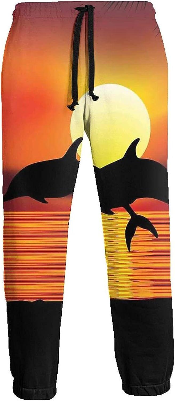 Active Sweats Jogger Pants Dolphins Ocean Sunset Running Joggers Casual Sweatpants for Men Women
