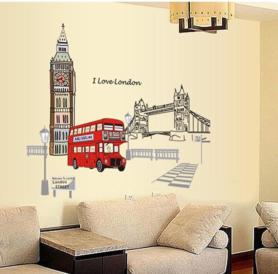 BIBITIME British Style London Wall Decal Sticker Big Ben Tower Bridge Bus Street Lights Nursery Kids Room Decor