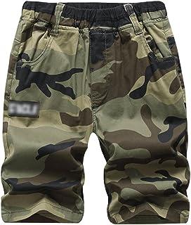 Lau's Pantalones Cortos de Camuflaje para niño - Pantalón Corto Militar para Verano (5-14años)