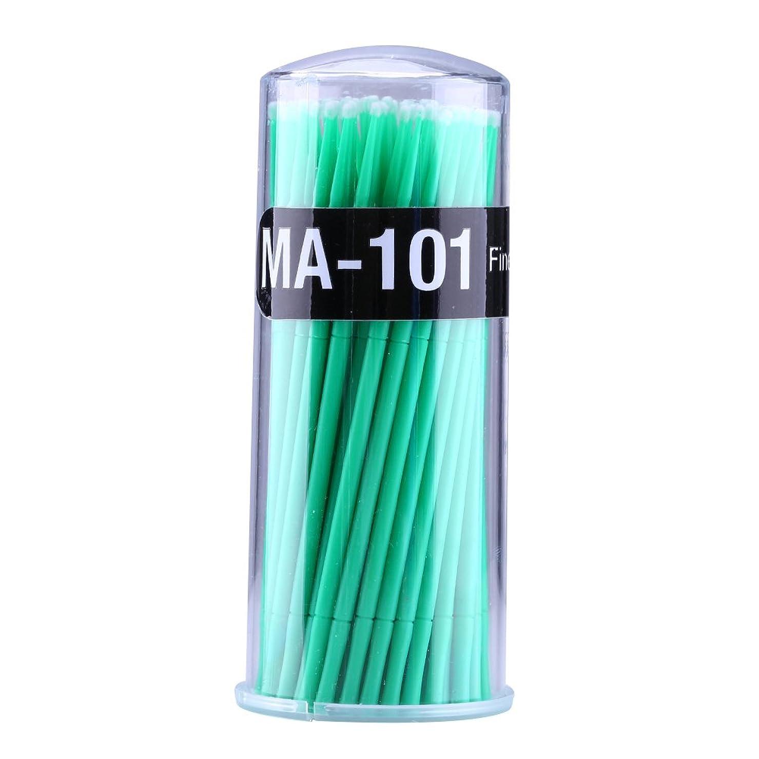 ジェット影規制マイクロブラシ - Delaman つ毛ブラシ、まつげ、使い捨て、睫用、先端曲げ、アプリケータエクステンション メイクブラシ、100個入り (色 : 緑)