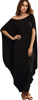 Verdusa Women's Boho One Off Shoulder Caftan Sleeve Harem Maxi Dress