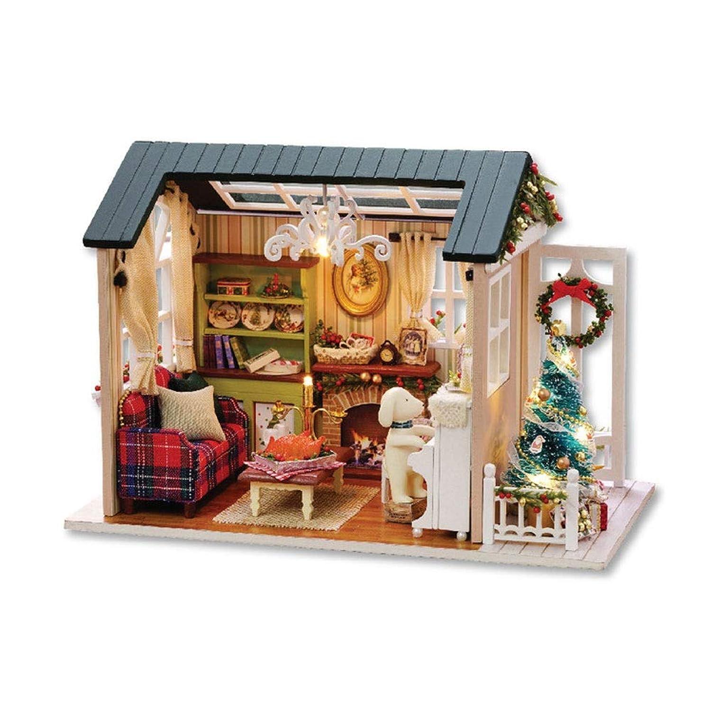 ドールハウスミニチュアDIYハウスキット、手作りの教育玩具建築モデル誕生日プレゼント森ブルータイム
