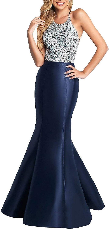 BessWedding Women's Sequin Mermaid Prom Dress Long Halter Backless Evening Dresses BPS194