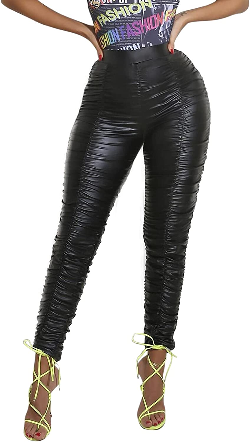 VWIWV Women's Sexy Ruched Legging Pants Solid Color Skinny High Waist Jogging Pants