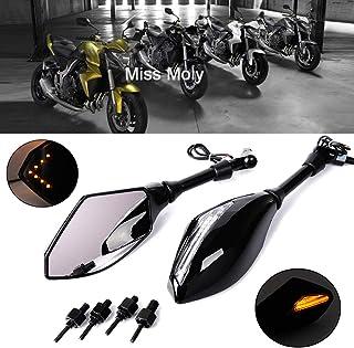 ZZ-SEN-RAN-DIAN-ZI Compatible para Yamaha XJR1300 XJR1200 XJ6 FZ-1N FZ6 FZ8 FZ-07 FZ-09 FZ-10 Espejos Retrovisores Laterales De Motocicleta Duradero Color : Black