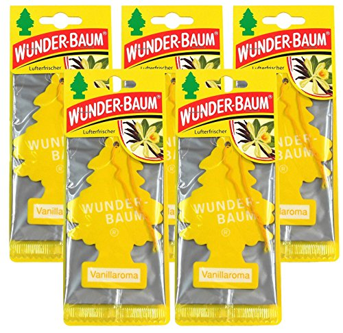Wunderbaum 5X Vanillaroma Orginal Lufterfrischer Duftbaum Fahrzeugduft 1 STK