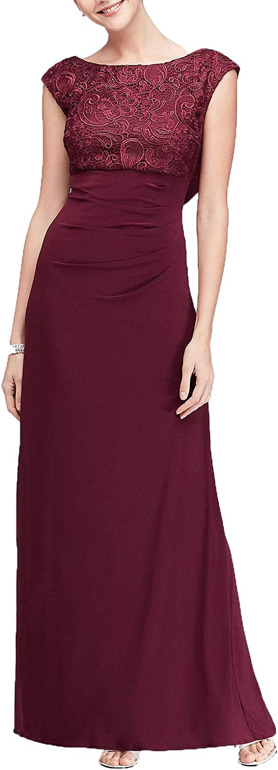 Jerald Norton Ltd Women's Floor Length Lace Appliques Sheath Gown Cowl Back Formal Dress Burgundy