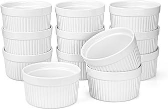 Foraineam Set of 12 Pcs 6 oz Porcelain Souffle Dishes, White Ramekins Bakeware Set Dessert Custard Baking Cups for Baking,...