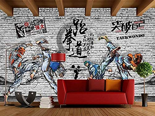 Tapete Wandbild Retro Backsteinmauer Taekwondo Fitnessstudio Boxen Hintergrund Kampfsport Halle Poster Sport Fitness Halle Foto Tapete * 430cmx300cm (169,3x118,1 Zoll) Vlies Premium Kunstdruck Fleece
