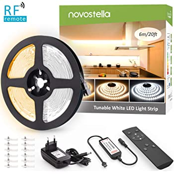 Novostella LED Strip 6M Dimmbar Warmweiß 3000K Kaltweiß 6000K, LED Streifen Band Lichtband Strips mit Netzteil RF Fernbedienung 720 LEDs 2835, 3 Modi 10 Helligkeit einfache Bedienung 12V