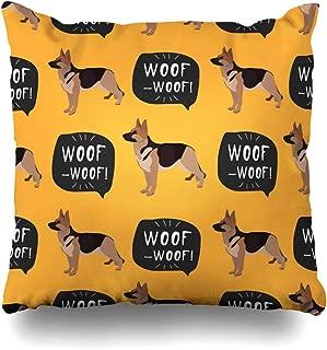 Pandarllin Throw Pillow Cover Face Dog German Shepherd Black Breed Bulldog Canine Outline Cushion Case Home Decor Design Square Size 18 x 18 Inches Pillowcase