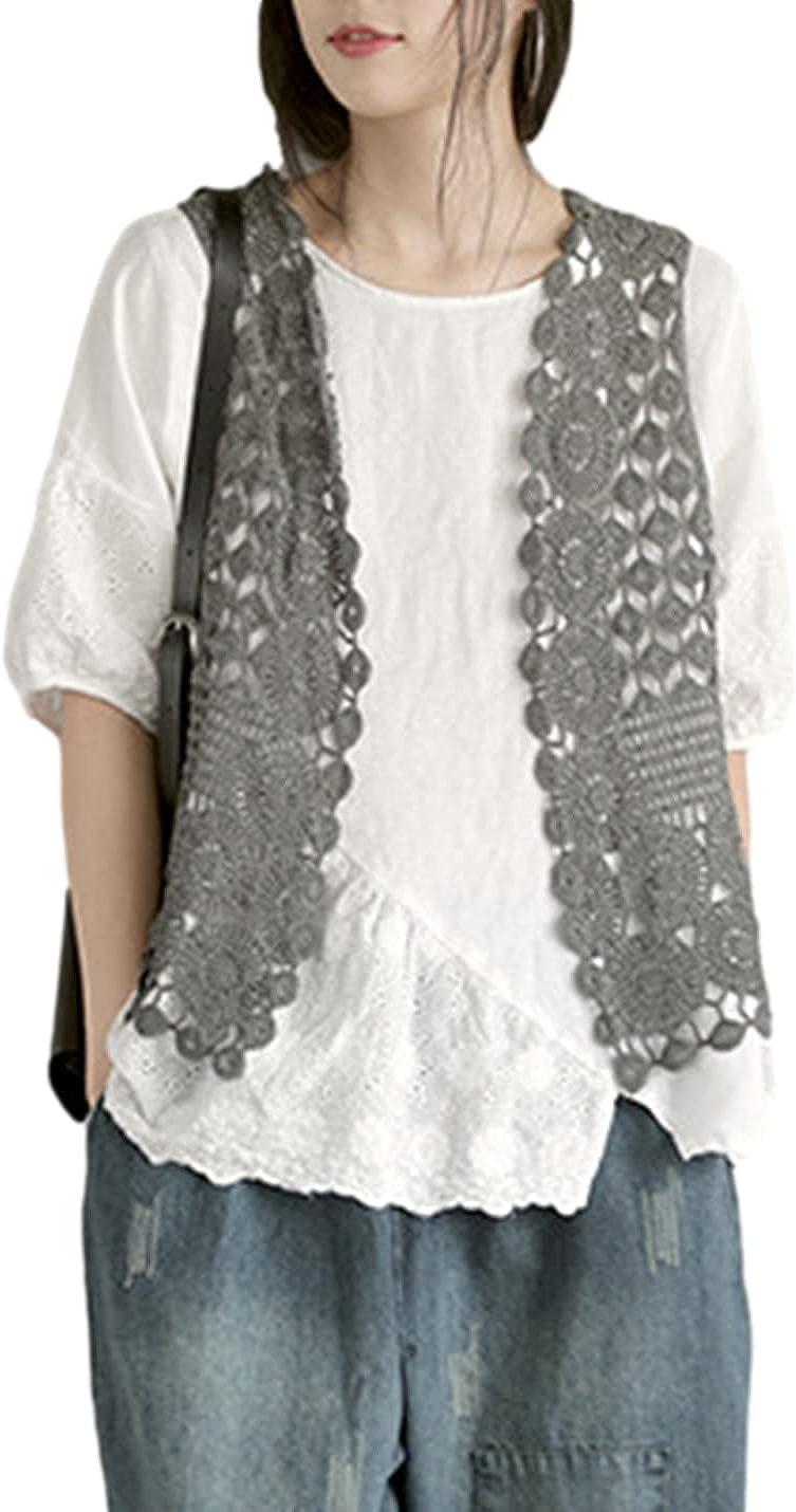 SeekMe Floral Crochet Lace Trim Sleeveless Hollow Out Open Front Vest Cardigan