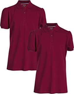 Junior Girls' School Uniform Piqué Short Sleeve Stretch Polo Shirts (2 Pack)