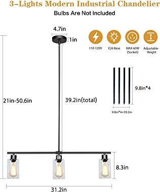 LWYTJO 3-Lights Pendant Light, Kitchen Island Linear Lighting Fixture,Modern Farmhouse Integrated Ceiling Chandelier with Gla