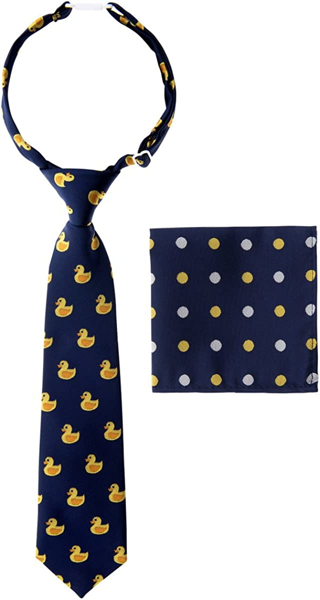 Canacana Rubber Duck Pre-tied Boy's Tie with Polka Dots Pocket Square Set