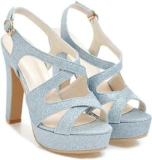 Mature 2018 Summer Platform Super High Heels Sandals Ladies Peep Toe Cross-Tied Dress Date Office Sandals Women Shoes Blue 4.5