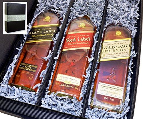 Geschenkkarton von meinglas24 mit 3 Flaschen Johnnie Walker Whisky Black Label + Red Label + Gold Reserve je 0,70l 40% - ein tolles Geschenkset für Kenner und Geniesser!