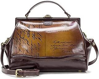 Discovery Brianza Leather Frame Satchel Bag ~ Vintage Postcard Print