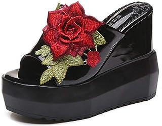 Women's Comfy Flowers High Heels Wedge Platform Summer Open Toe Slippers Slides Sandals Women's sandals