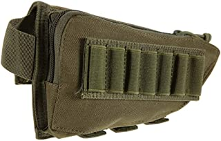Gexgune Military Outdoor Tactical Rifle Buttstock Cheek Rest Ammo Pouch Portable Stock Shell Cartridge Holder Hunting Mag Pouch (5 Colors Optional)