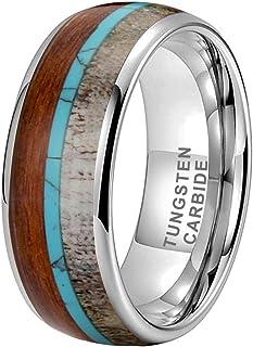iTungsten 8mm Silver/Black/Rose Gold Tungsten Carbide Rings for Men Women Wedding Bands Whiskey Barrel Oak Wood Deer Antle...