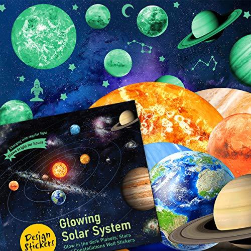 Pegatinas de pared para niños que brillan en la oscuridad, planetas y constelaciones, sistema solar, pegatinas de pared para decoración de espacios brillantes