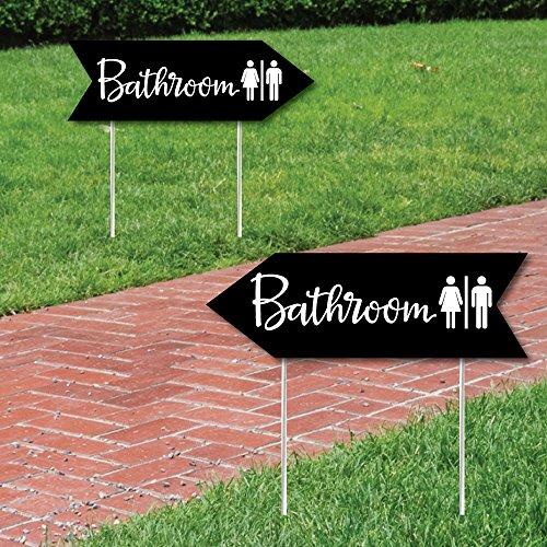 Black Wedding Bathroom Signs - Wedding Sign Arrow - Double Sided Directional Yard Signs - Set of 2 Bathroom Signs