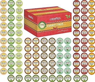 Cha4TEA 100-Count Tea Variety Sampler Pack for Keurig K-Cup Brewers, Multiple Flavors (Green Tea, Black Tea, Jasmine, Earl Grey, English Breakfast, Oolong Green Tea, Peppermint, Chai Tea)