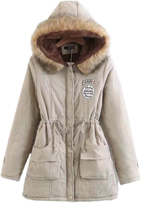 ZhaoabaoAU Women Faux Fur Collar Hooded Patchwork Fleece Military Safari Parka Coat
