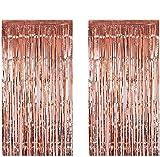 Anlising 2 Pezzi Party Offre Kit di Tende fotografiche, Pellicola Frange, Tende Shimmer per Feste, Pennelli Metallizzati, Tende in Oro Rosa, Decorazioni per Booth