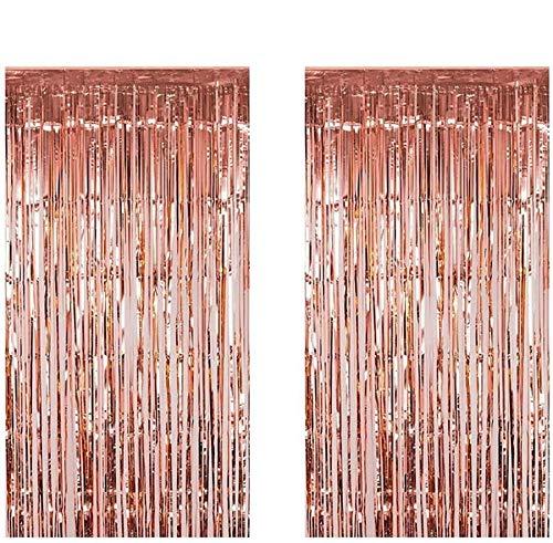 Anlising Party liefert Kit Vorhänge Foto, Folie Fringe,Shimmer Vorhang,Vorhänge für Party, Metallic Tinsel Vorhänge,Rosegold Vorhang,Foto Booth Dekorationen, metallische Luftschlan(2 Stück)