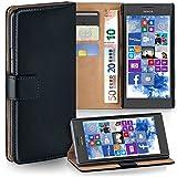 MoEx Premium Book-Hülle Handytasche passend für Nokia Lumia 730 | Handyhülle mit Kartenfach & Ständer - 360 Grad Schutz Handy Tasche, Schwarz