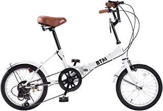 BTM 折りたたみ自転車 通勤通学自転車 16インチ シマノ6段変速 軽量 ライト付き カギ付き
