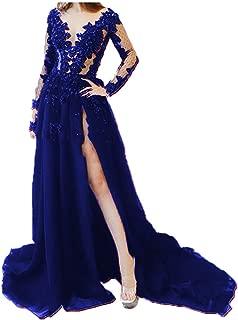 Women's Lace Appliques Backless Formal Dresses Illusion High Split Evening Dresses Lace Formal Gown