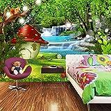Fotomurales Casa de setas en cascada de la jungla 200x150 cm - 4 Strips Papel tapiz 3D Papel pintado tejido no tejido Decoración De Pared Sala Cuarto Oficina Salón