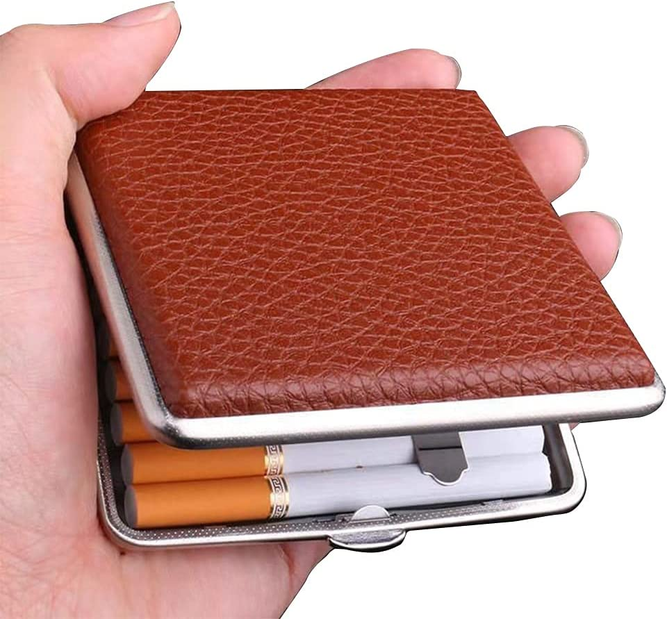 ZQZDQ 20 Leather Cigarette Boxes with Award-winning store Regular dealer Metal Simple Ci Ultra-Thin