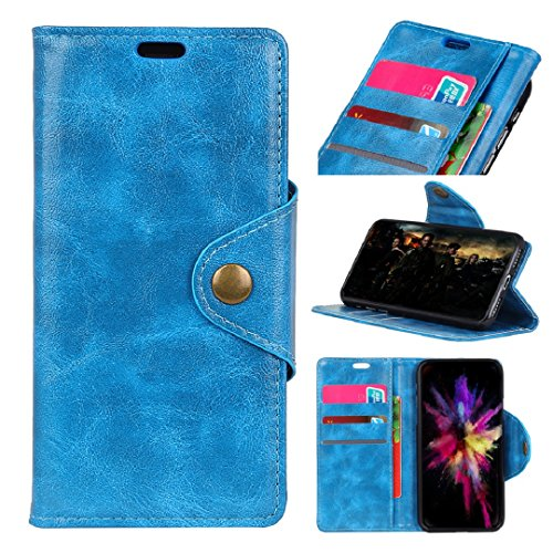 Wileyfox Spark +Plus Wallet Stand Case, Vivid Nostalgic Vintage Concise Style Copper Buckle Safe Design Money Credit Card ID Slots TAITOU Soft PU Leather Light Phone Case For Wileyfox Spark+ Blue