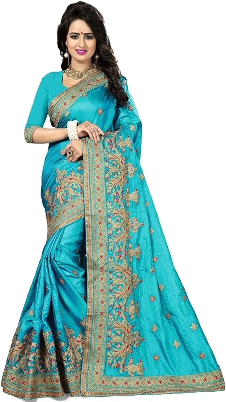 Ethnicwear Elegant Wedding Wear Party Wear Turquoise Art Silk Gorgeous Embroidered Saree Sari