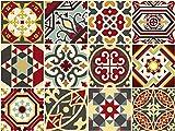 The Nisha 24 PC pegatinas para pared Adhesivo de Pared Salpicadero de Vinilos Azulejos Adhesivos Arte Ecléctico para la Cocina & Baño, 10x10 cm, imperio Bizantino