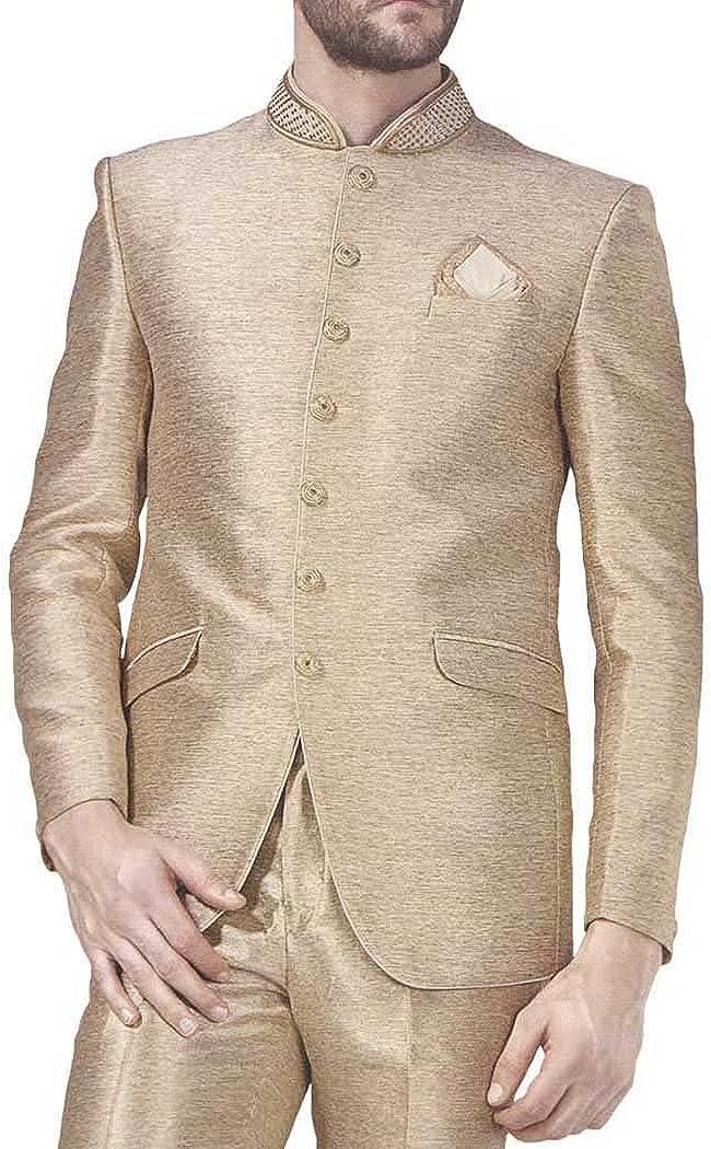 INMONARCH Mens Beige 3 Pc Jodhpuri Suit Indian Wedding 7 Button JO383